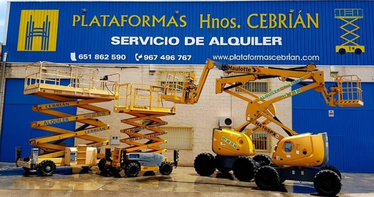 Alquiler de plataformas elevadoras y grúas en Cuenca - Plataformas Cebrián - Quiénes somos - Fachada